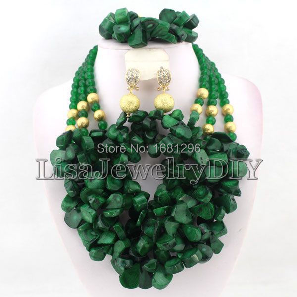 Green African Coral Beads Jewelry Sets Nigerian Wedding African Bridal Jewelry Set Free Shipping     HD0289Green African Coral Beads Jewelry Sets Nigerian Wedding African Bridal Jewelry Set Free Shipping     HD0289