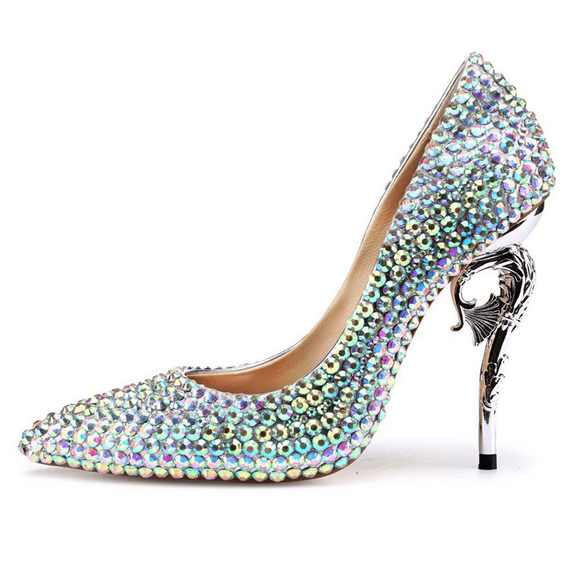 Europe New Women High Street Fashion Pointed Toe Luxury Crystal Rhinestone Wedding Shoes Ladies Hot Pumps Female Sheepskin Shoes new arrival multi ab color wedding shoes women s pumps luxury crystal shoes pointed toe square heel sheepskin real leather shoes