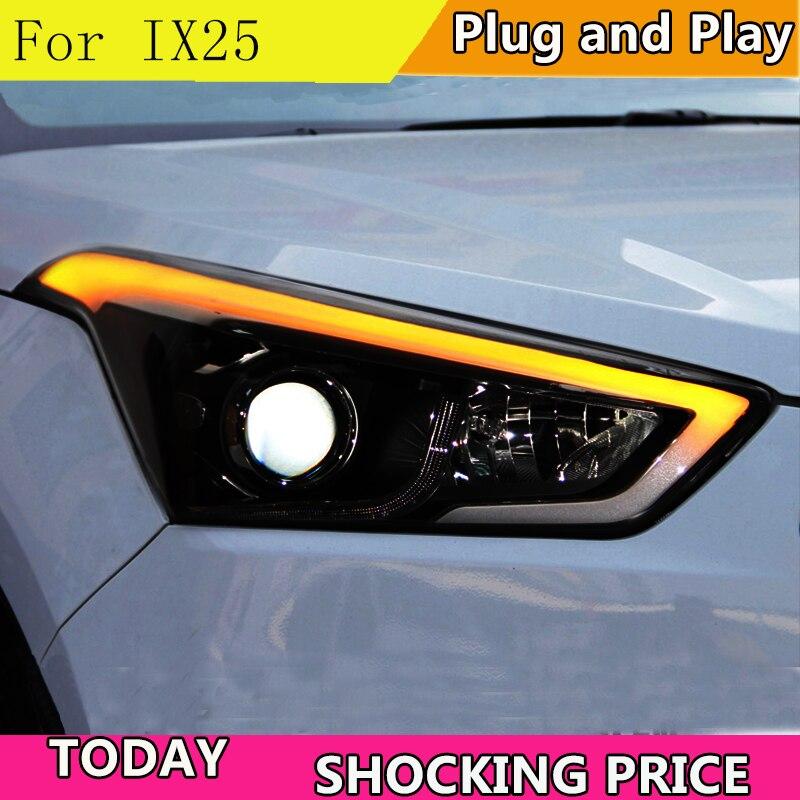 doxa Car Styling for Hyundai IX25 Headlights 2015-2017 Creta LED Headlight DRL Daytime Running Light Bi-Xenon HID Accessories