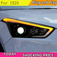 doxa Car Styling for Hyundai IX25 Headlights 2015 2017 Creta LED Headlight DRL Daytime Running Light Bi Xenon HID Accessories