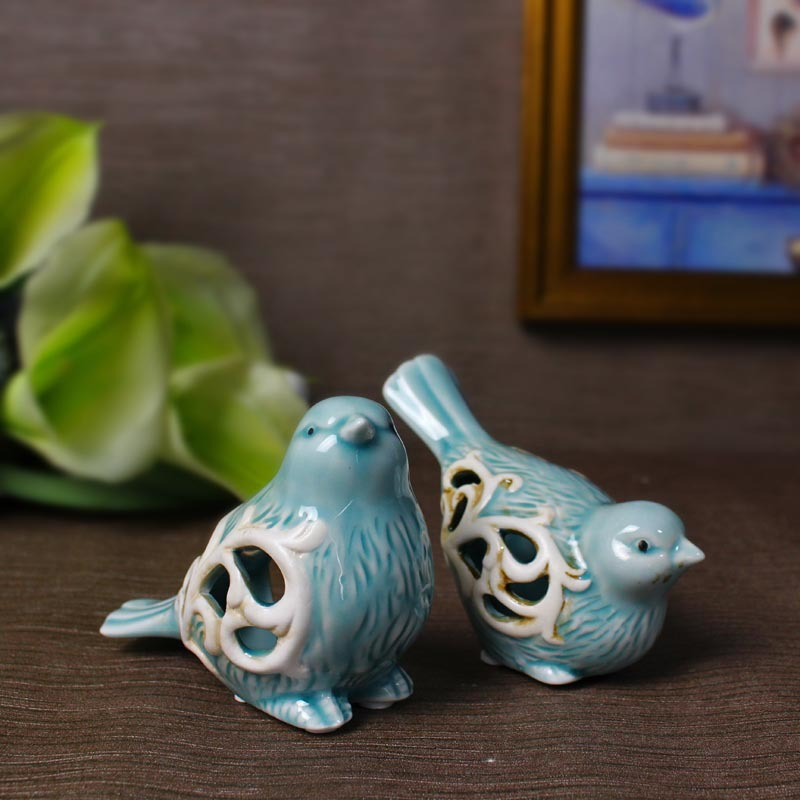 1 Pair Bird Figurines Handmade Office Decorative Sweety Lovers Household Decor Ornaments Novelty Wedding Favors in Figurines Miniatures from Home Garden