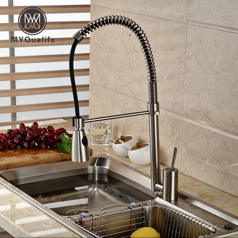 Creative Design Single Lever Kitchen Sink Faucet Nickel Brushed Dual Sprayer Nozzle Water Taps Deck Mount