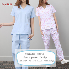 Ruyi Liuli-New Fashion Short Sleeved Women Suits Surgical Gowns Clothes Brush Hand Nurse Doctor Cotton Solid Unitform