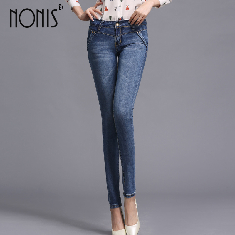 Nonis 2017 new arrival solid skinny jeans women middle waist slim denim pants female sexy style jeans high quality pencil pants
