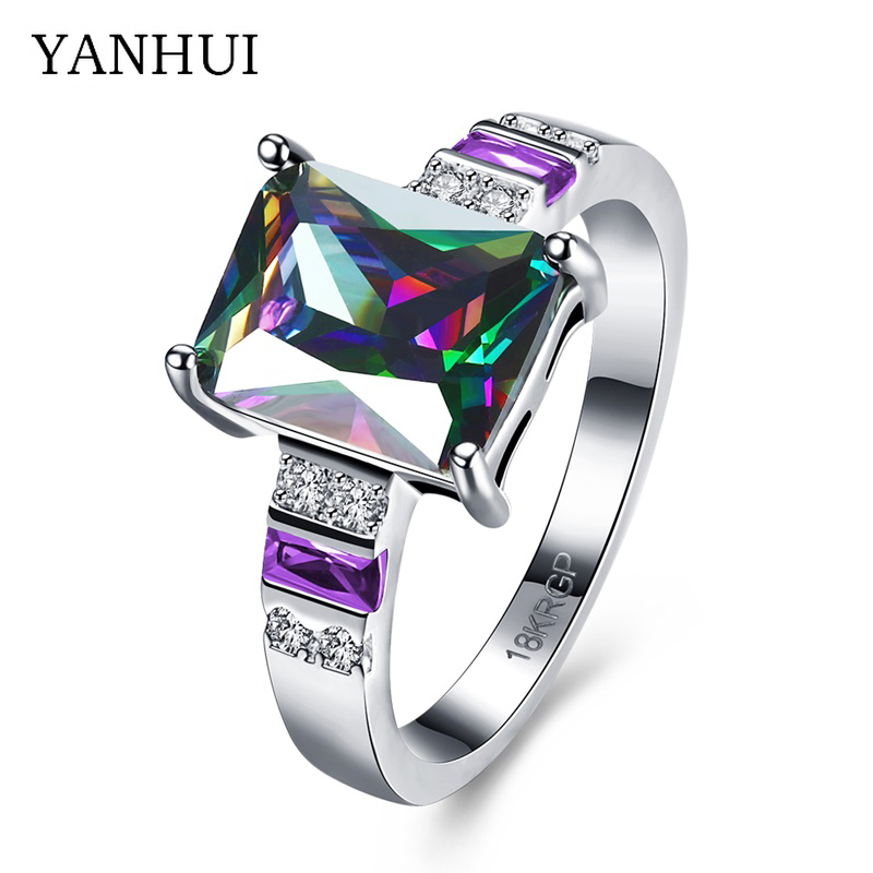 YANHUI Fashion Jewelry Women Wedding Rings Set Big Rainbow Zircon Colorful CZ 18KRGP Stamp Solid Gold Filled Engagement Rings