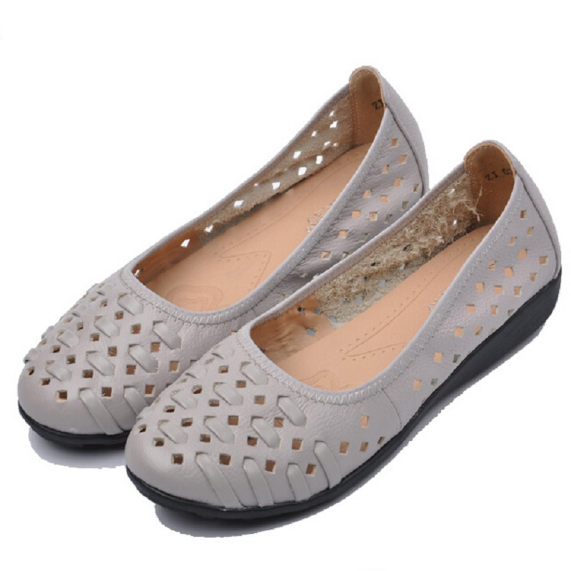 Summer Women Flats New 2016 Shoes Woman Fashion Brand Cut Outs Casual Sandals Zapatos Mujer Ballet Ballerina Flat Big Size 43 2017 spring summer new women casual pointed toe loafers flats ballet ballerina flat shoes plus size 34 43