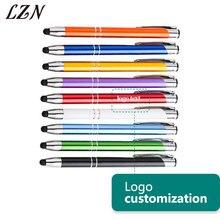 LZN Bolígrafo de Metal para pantalla táctil grabado con láser, Logo de la empresa Design Company, 10 Uds. Por lote, personalizado con su logotipo/sitio web/contactos