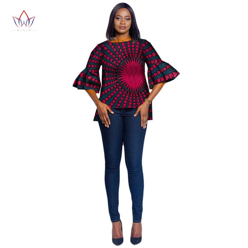 2018 été africain impression cire chemise pour les femmes mode Flare demi manches Dashiki Top femmes grande taille vêtements africains WY2000