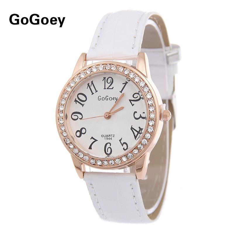 High Quality Gogoey Brand leather watch women ladies fashion crystal dress quartz wristwatch Relogio Feminino GO020