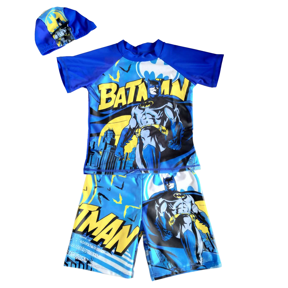 Kid Boys Short Sleeve UV Sun Protection Rash Guards Swimsuit With Hat Swimming Cap Children Knee Swimwear Batman Shirt BeachwearKid Boys Short Sleeve UV Sun Protection Rash Guards Swimsuit With Hat Swimming Cap Children Knee Swimwear Batman Shirt Beachwear