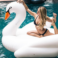 1.9m 75inch Giant Rideable Swan Swimming Pool Toys Inflatable Swan Floating Row Swim Ring Beach Bed Summer Water Game Party Toys