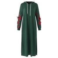 Women Autumn Spring Long Sleeve Shift Dress 2018 Casual Hoodie Maxi Dresses Female Floral Vestidos Streetwear