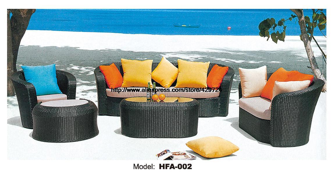 Outdoor Patio Furniture Sofa Table Ottoman Rattan Sofa Set Garden Wicker  Furniture Factory Sofa Foshan Furniture