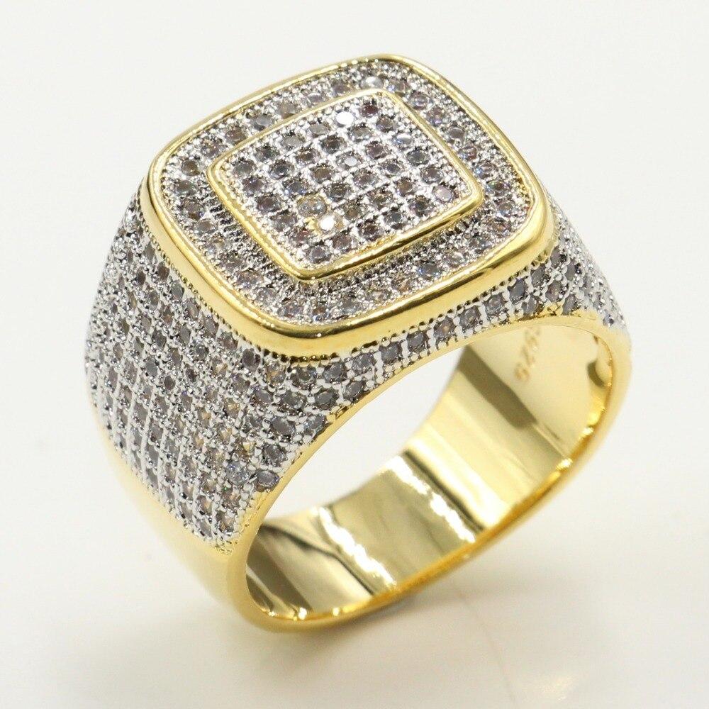 Rulalei tout nouveau superbe bijoux de mode 925 en argent Sterling et or pavé blanc 5A cubique zircone Punk grand mariage hommes anneau