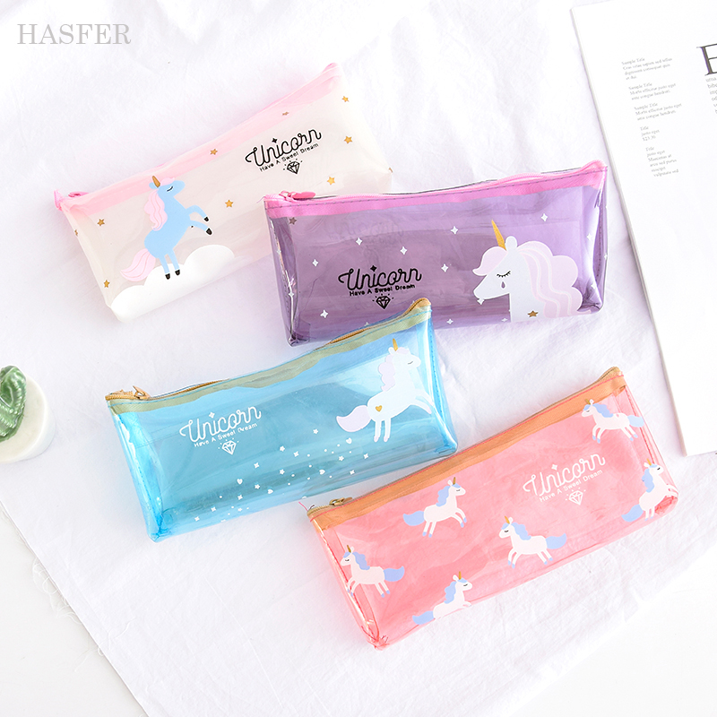Cartoon Unicorn Pencil Case Cute Transparent pencil bag box stationery pen pouch kids gift Office school Supplies escolar big volume weekend bag for man in pu material men s business leather travel bag men duffel bag high quality men shoulder bags