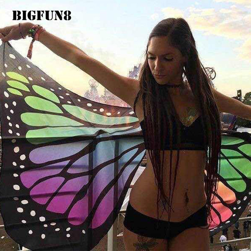 Women Beach Cover Up Butterfly Wing Cape Bikini Cover Up Cosplay Colorful Pareo Robe De Plage Beach Bathing Suit Cover Up ZW03