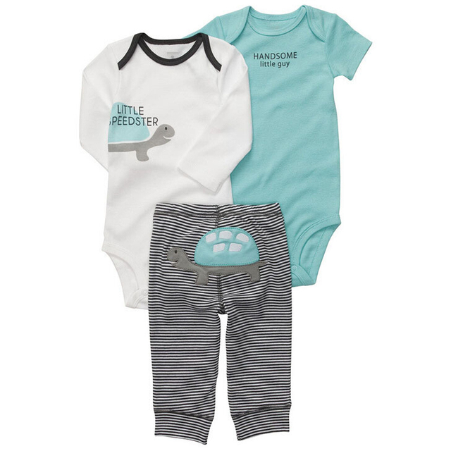 429b1a948 Little Tortoise Series 4-6 Months Baby Boys Clothes Set One Long Sleeve  Onesie One Short Sleeve Onesie And One Pants