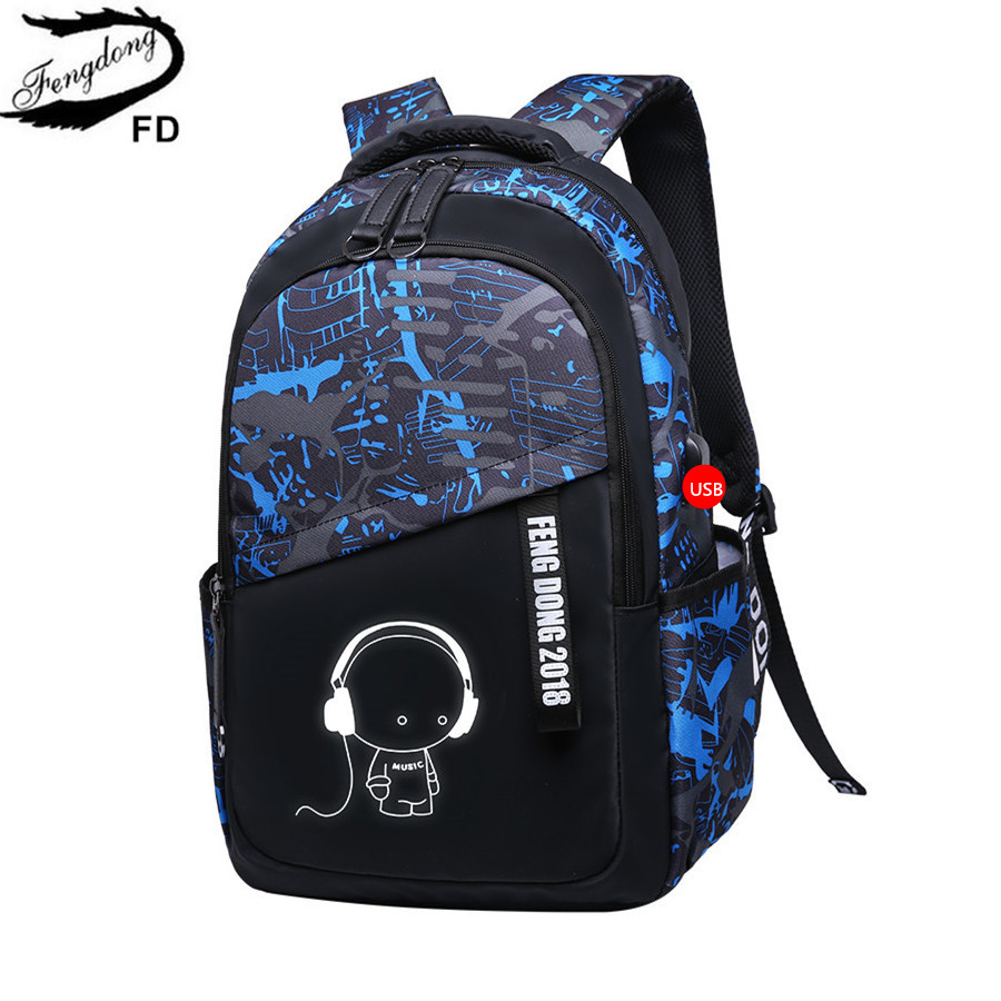 FengDong Kids Large Waterproof School Backpack Boys School Bags Bookbag Schoolbags For Teenagers Male Laptop Backpack Schoolbag