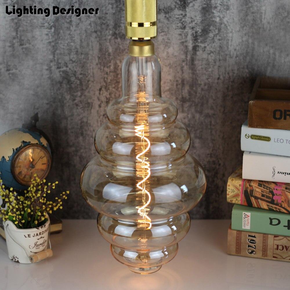 Grande taille ampoule dimmable Edison ampoule E27 doux LED Filament Vintage lampe à LED grand hamburger décor ampoule 6 W 220 V lumière blanc chaud - 2