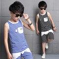 Novos Meninos Terno Do Esporte Da Moda Stripe-Dois Padrão pedaço Conjunto de Roupas Crianças Colete + Shorts Calças Treino Tamanho 4-16a