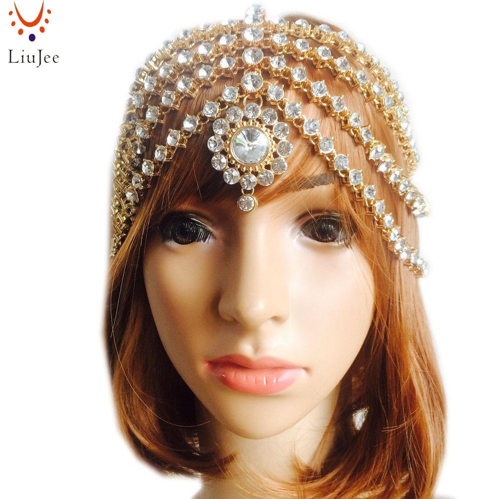 LiuJee KD128 Luxury Full kundan stone Head Chain Hair jewelry Indian Star headband hair bands bridal hair accessories