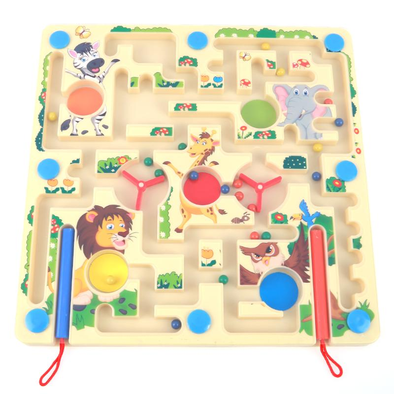 2 in 1 Magnetic Animal Maze Game Wooden Labyrinth Board Chess Kids Early Educational Learning Children