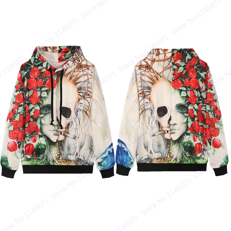 White Smoking Skeleton Hip Hop Hoodies Red Rose Ciga Smoking Skull Skateboarding Sweatshirts Autumn Active Men Hooded Tracksuits