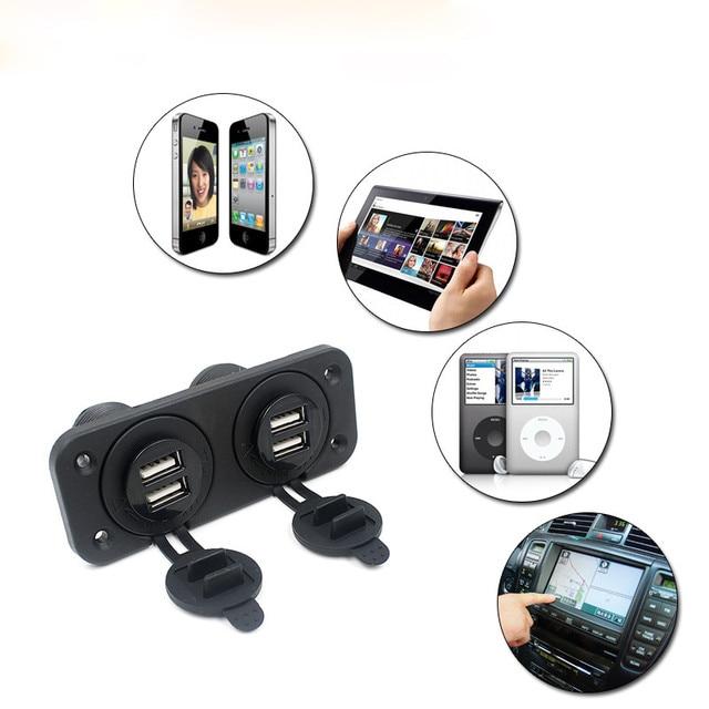 Universal 12 V coche barco accesorio Panel de enchufe 4 cargador USB adaptador de corriente salida 5 V