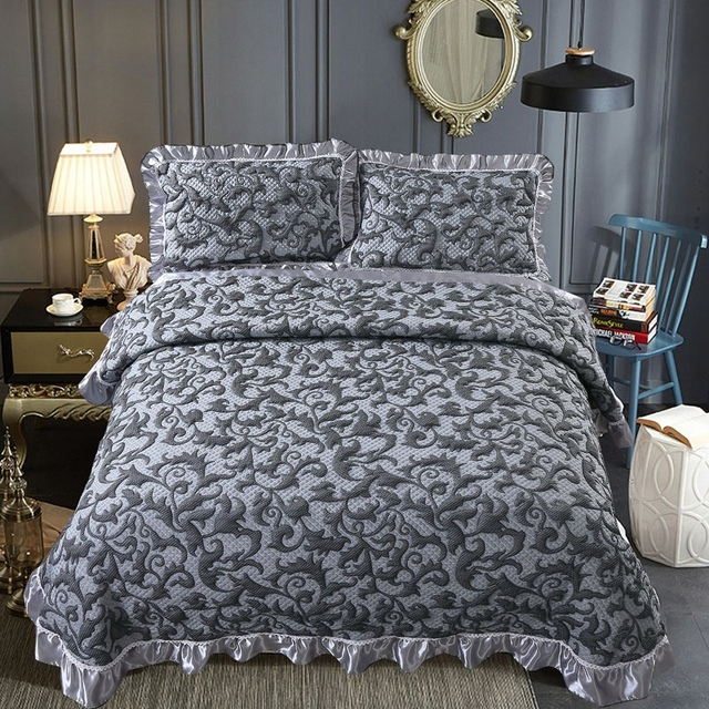 230x250cm/250x270cm gray Fitted Sheet Cover Graceful Bedspread 3pcs bedspread Bedroom cotton Bed Cover Housewarming Gift
