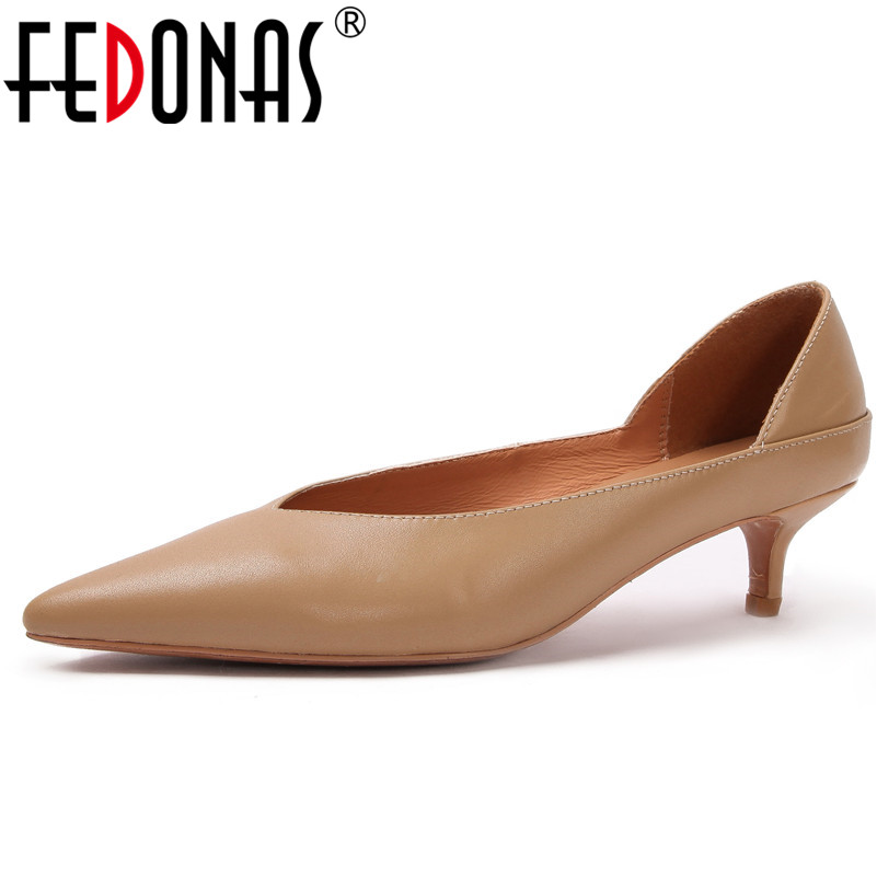 FEDONAS Fashion Basic Pumps Women Genuine Leather High Heels Pointed Toe Elegant Office Pumps Sexy Slip On Female Pumps