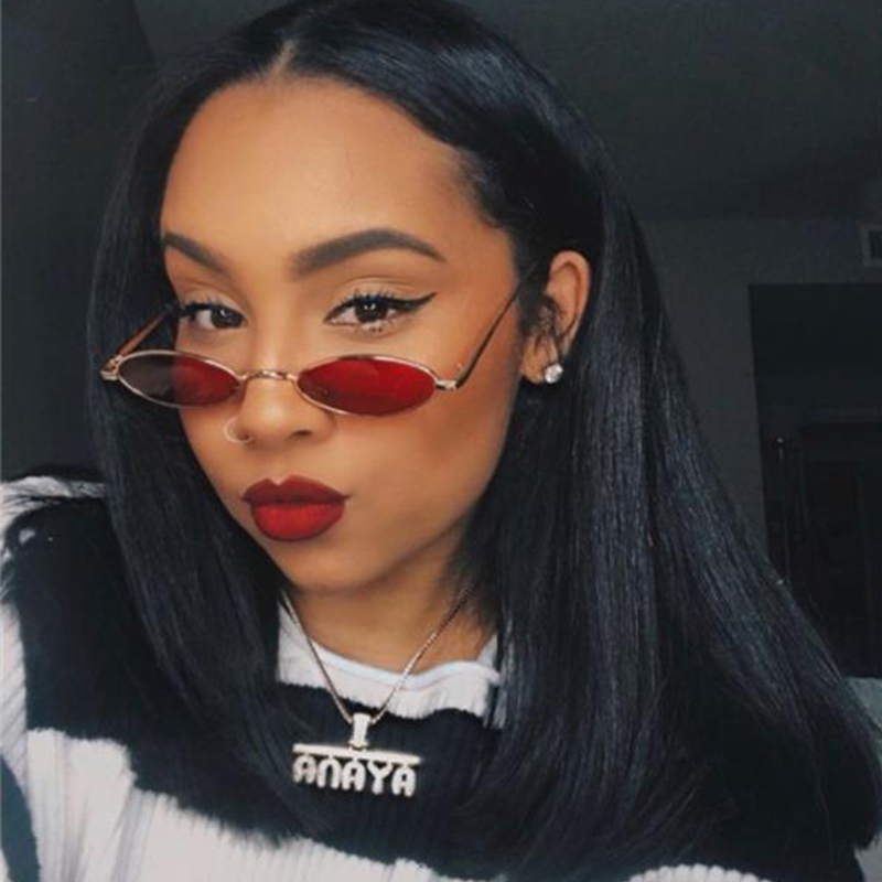 small oval sunglasses Women vintage metal frame glasses Fashion size Red Yellow Clear Lens Sun Glasses 2018 New UV400
