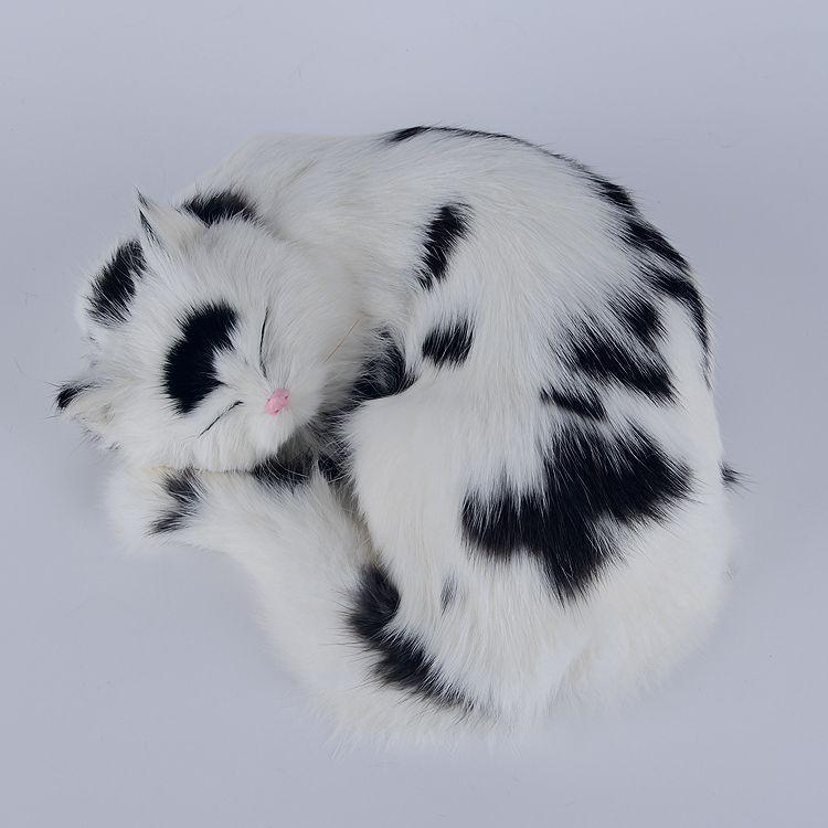 simulation white black cat lifelike sleeping cat model gift 25x20x11cm