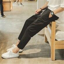 Men's Casual Pants Summer Slim Men's Cropped Pants Cotton Feet Pants Teen 2D11