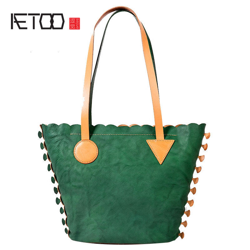 AETOO Original bag female 2018 new fashion leather handbag Japanese hand first layer of leather shoulder bag tide famous brand top leather handbag bag 2018 new big bag shoulder messenger bag the first layer of leather hand bag