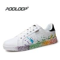POOLOOP Yeni Tasarım Casual Kadın Sneakers Boyama Şık Ayakkabı Lace Up Kız ve Erkek Süper Yıldız Moda Sneakers Yürüyüş Daireler