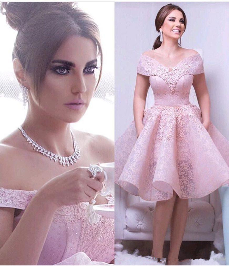 Pink 2019 Cocktail Dresses A-line Off The Shoulder Lace Beaded Knee Length Elegant Party Homecoming Dresses