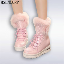 Size 34-43 Fashion Women Snow Boots Warm Fur Shoes Thick Platform Hidden Wedge Heels Home Outdoor Comfortable Ankle
