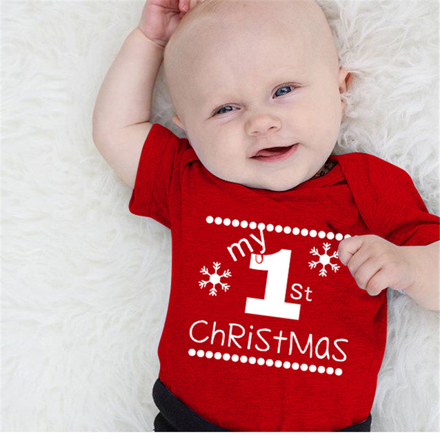 lovely newborn infant red baby kid boys girls my first christmas romper jumpsuit outfits costume ds29 - Babys First Christmas Photos