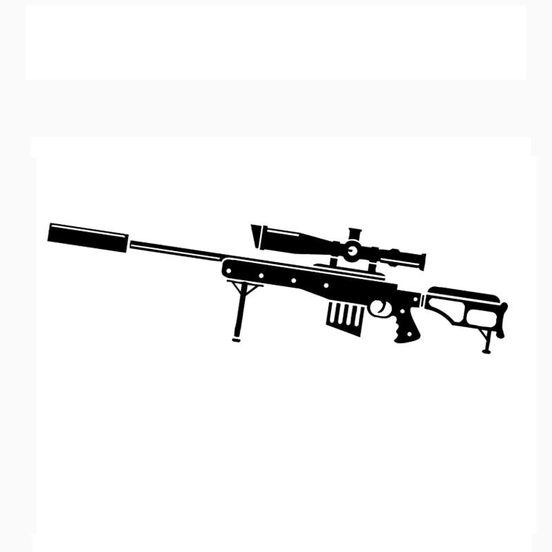 18.5*5.2CM Interesting Weapons Sniper Rifle Gun Graphic Vinyl Car Sticker Black White Motorcycle Exterior Accessories