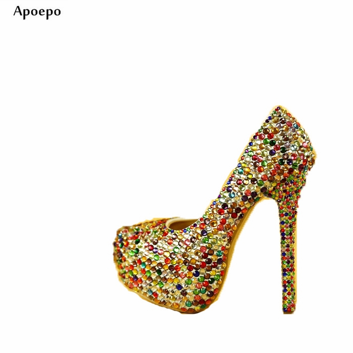 Apoepo Woman High Heel Shoes Bling Bling Colorful Crystal Embellished Thin Heels Shoes Woman Platform Pumps Wedding Heels 2018 apoepo handmade wedding bride shoes bling bling crystal pregnant shoes 3 5 cm increased internal low heels shoes mary janes shoe