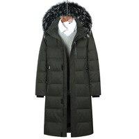 Winter new brand raccoon collar men's park jacket men's long thick over the knee coat men's / women's winter jacket size 6XL