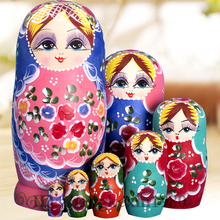 7 Layers set Beautiful Matryoshka Doll Russian Doll Children Wooden Toys Doll Christmas Gifts Birthday Gifts