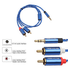 New RCA Cable 2RCA to 3.5 Audio Cable RCA 3.5mm Jack RCA AUX Cable for DJ Amplifiers Subwoofer Audio Mixer Home Theater DVD Blue(China)