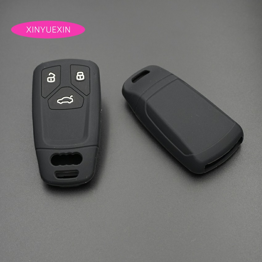 Xinyuexin Silicone Rubber 3 Button Car Key Cover Case For Audi 2016 2017 2018 A4 B9 Q7 4m TT 8S Smart Key In Black Car-styling