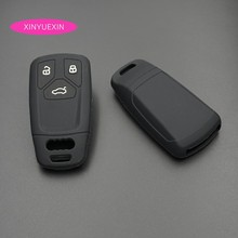 Xinyuexin Silicone Rubber 3 Button Car Key Cover Case For Audi 2016 2017 2018 A4 B9 Q7 4m TT 8S Smart In Black Car-styling