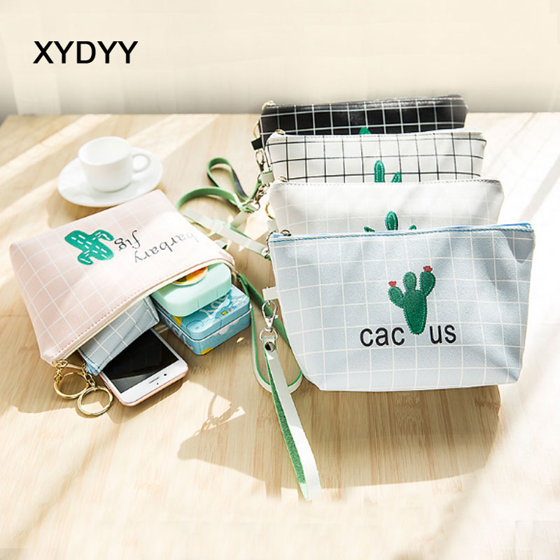 XYDYY Casual Super Texture Soft PU Cosmetic Bags Cactus Waterproof Makeup Bag Toiletry Kit Wash Bags Organizer Storage Pouch Bag waterproof soft cloth storage bags for earphones 5pcs