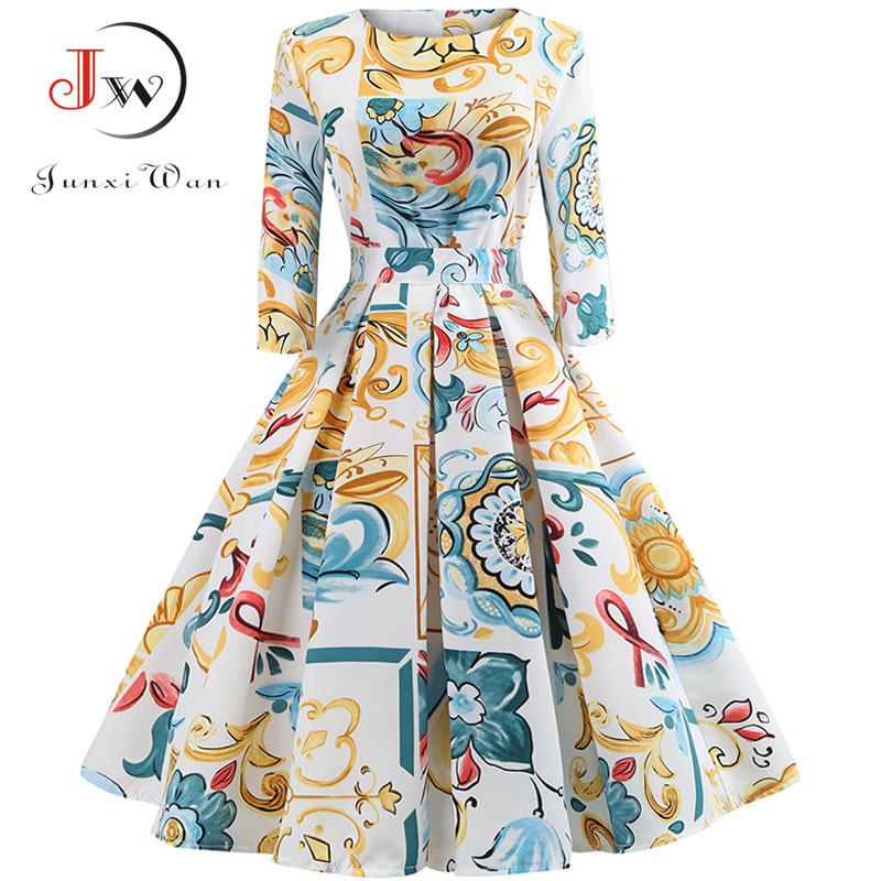 8d31e4cb5a Retro Vintage 3 4 Sleeve Autumn Dress Women Floral Print Sexy Party Dresses  Elegant Casual A-Line Dress Robe Rockabilly Pinup