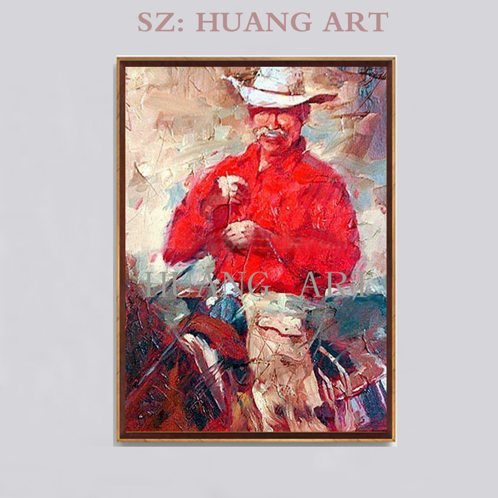 Old Experienced Painter 100%Handmade High Quality Wall Decor Painting Western CowBoy Riding Horse In Sunset Oil Painting