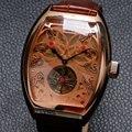 Forsining marca Mens Relógios de Luxo Esqueleto Mecânico dos homens Do Esporte Militar Assista Men Pulseira de Couro Relogio W182001