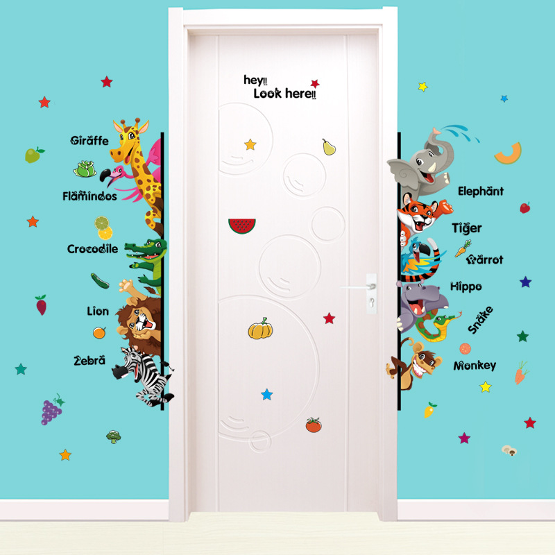 DIY Cartoon Animal English Name Wall Sticker Living Room Bedroom Kids Room Kindergarten Decorate Home Decor Removable Sticker